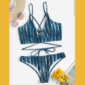 Teal lace up bikini set NWOT